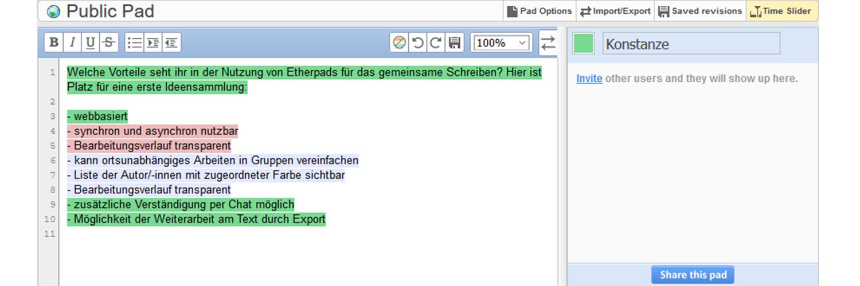 Etherpad – gemeinsam schreiben