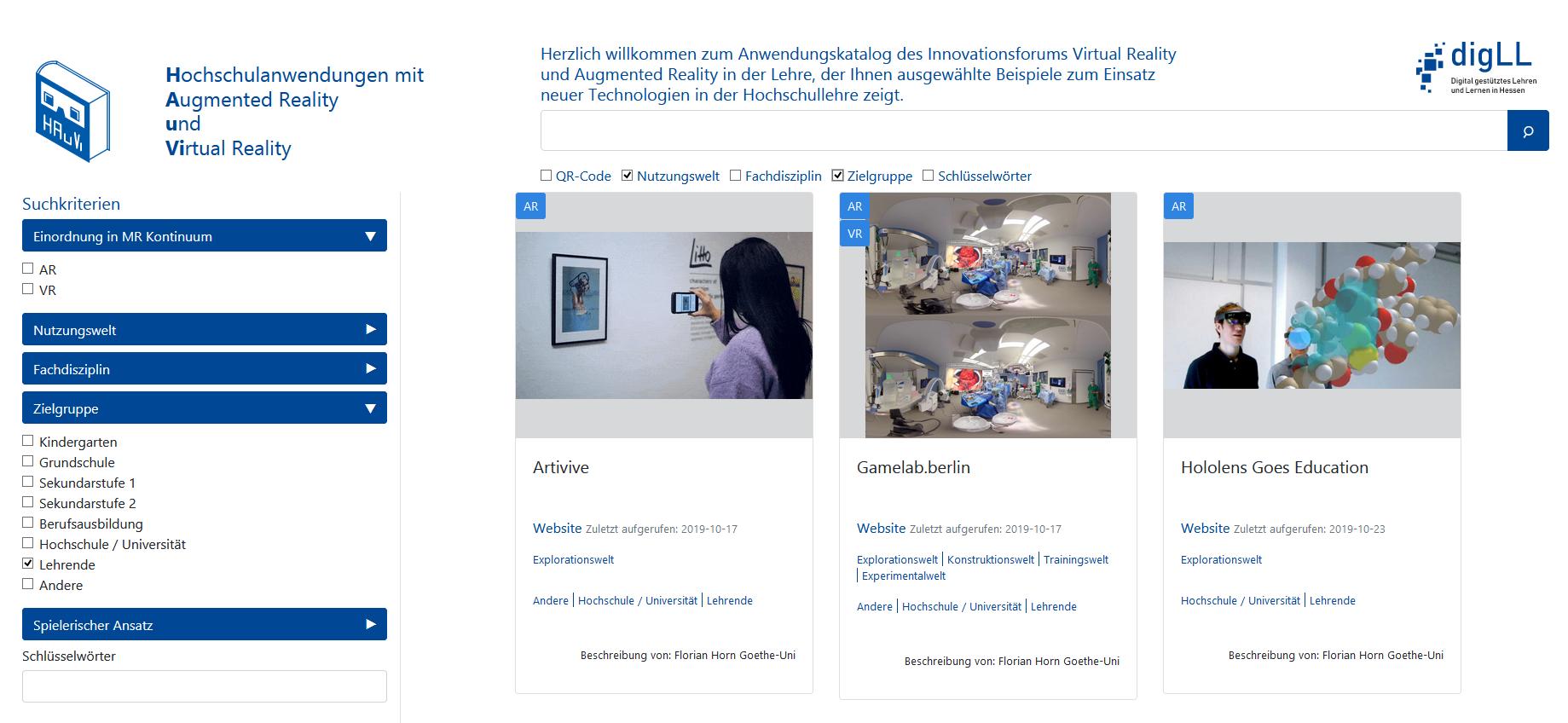 Webauftritt 'Hochschulanwendungen mit Augmented Reality und Virtual Reality'