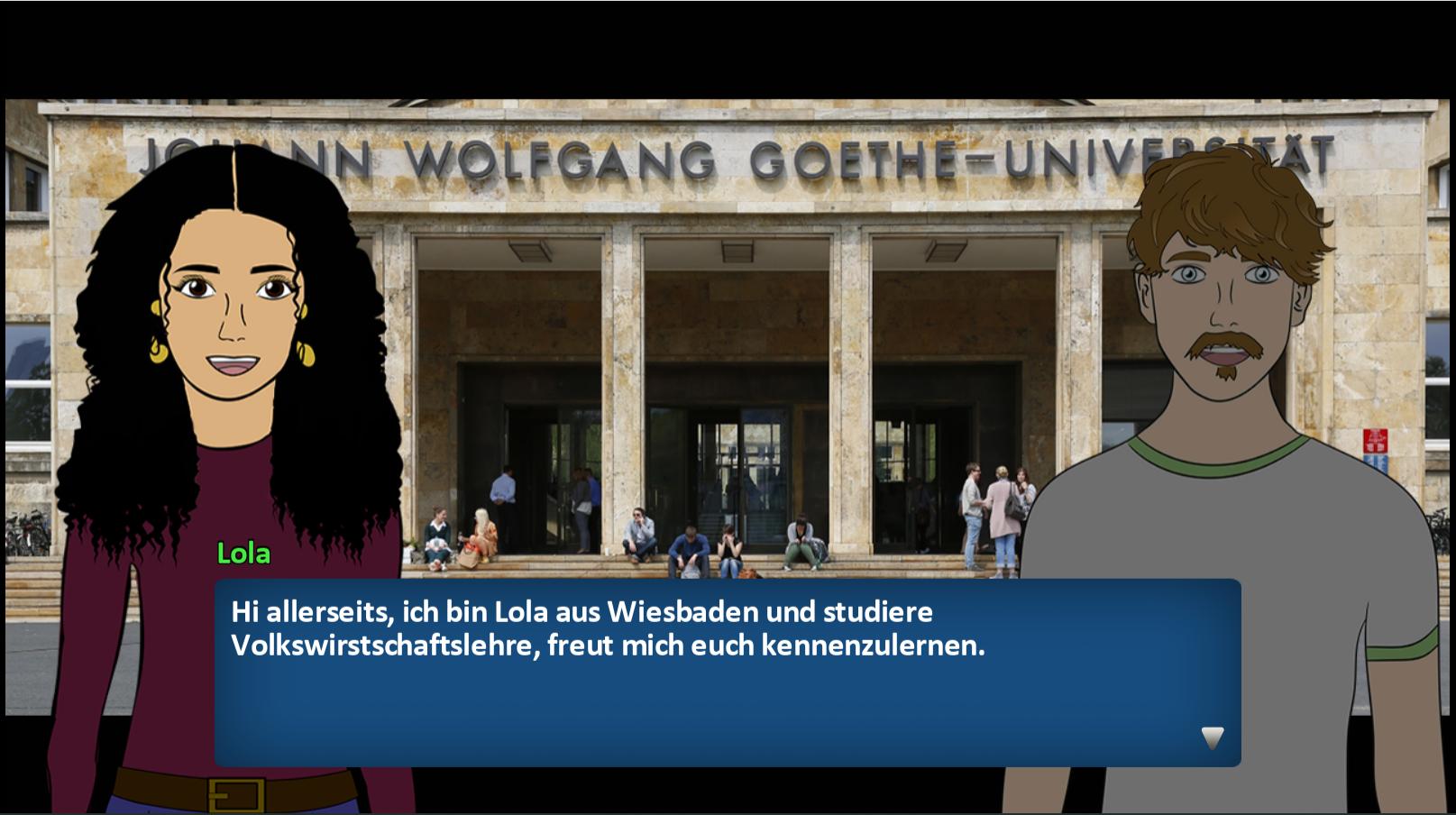 Die Avatare Lola und Ludwig stehen vor dem Universitätsgebäude. Lola sagt 'Hi allerseits, ich bin Lola aus Wiesbaden und studiere Volkswirtschaftslehre, freue mich euch kennenzulernen.'