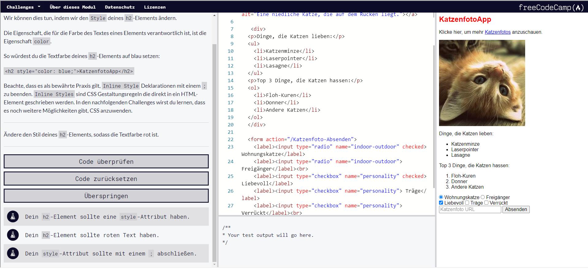 Die Ansicht beinhaltet eine Vorschau der Webseite, einem Code-Editor und einen Bereich mit Tipps und der Möglichkeit den geschriebenen Code überprüfen zu lassen.